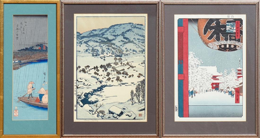 Group of Three Japanese Woodblock Prints, 20th c.,