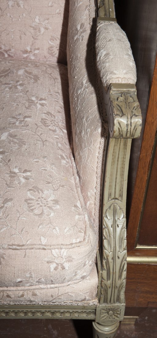 Pair of Louis XVI Style Polychromed Bergere Wing - 3