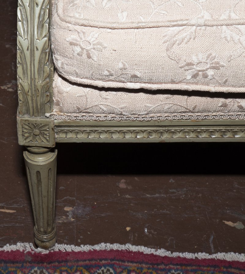 Pair of Louis XVI Style Polychromed Bergere Wing - 4