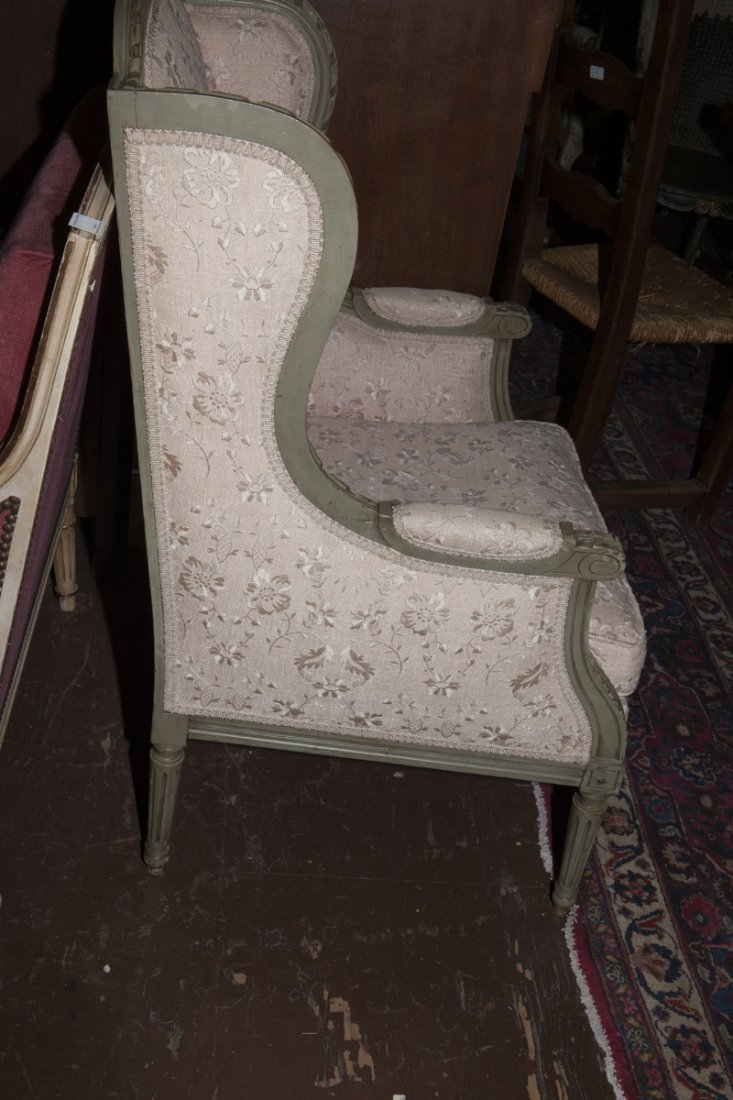 Pair of Louis XVI Style Polychromed Bergere Wing - 6