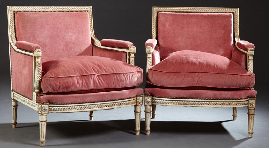 Pair of French Louis XVI Style Polychrome Upholstered