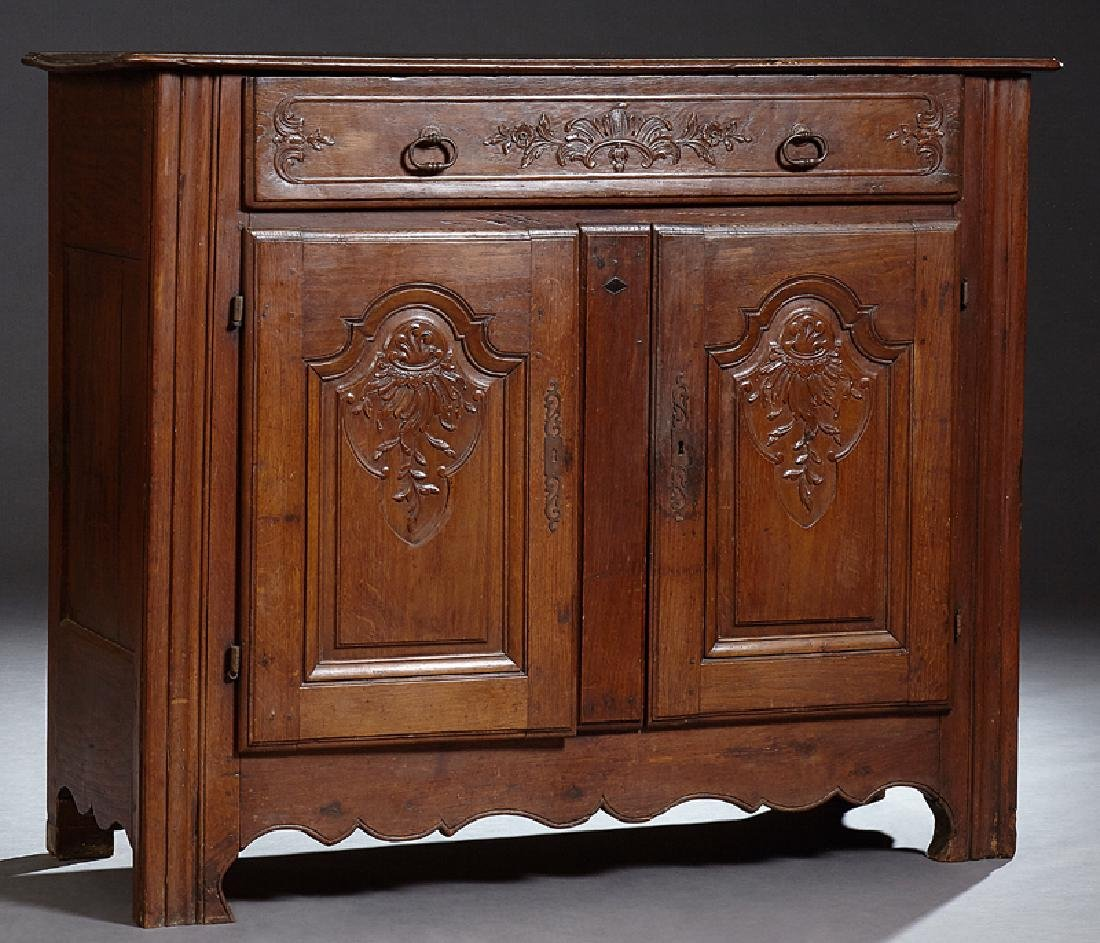 French Provincial Louis XV Style Carved Oak Commode,