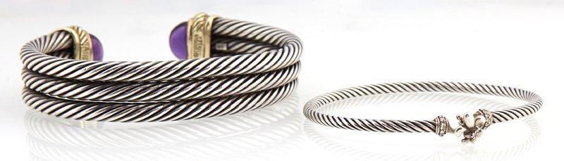 Two David Yurman Sterling Bangle Bracelets, of twisted