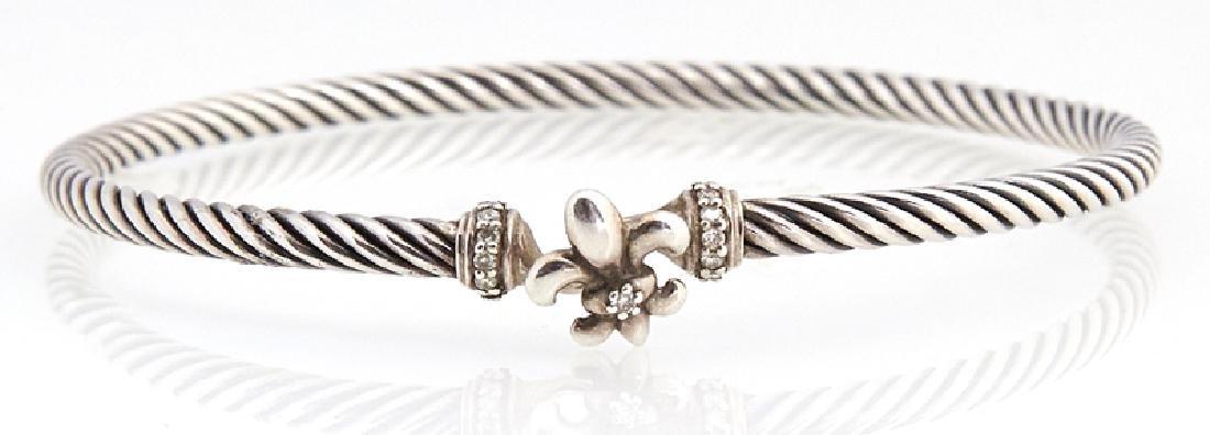 Two David Yurman Sterling Bangle Bracelets, of twisted - 3