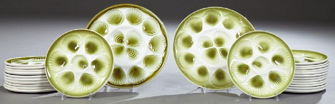 French Majolica Twenty-Six Piece Oyster Set, 20th c.,