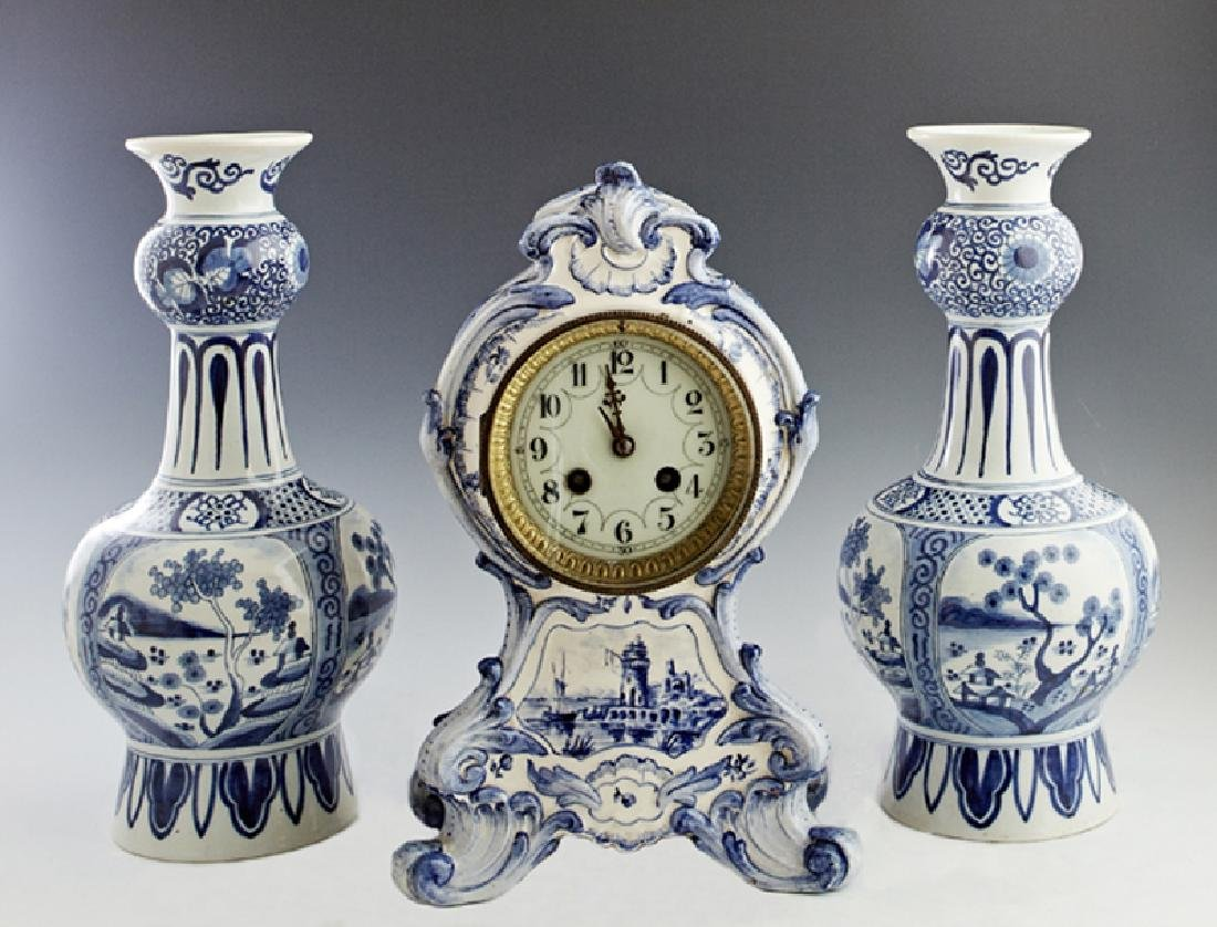 Three Piece Delft Pottery Clock Set, late 19th c.,