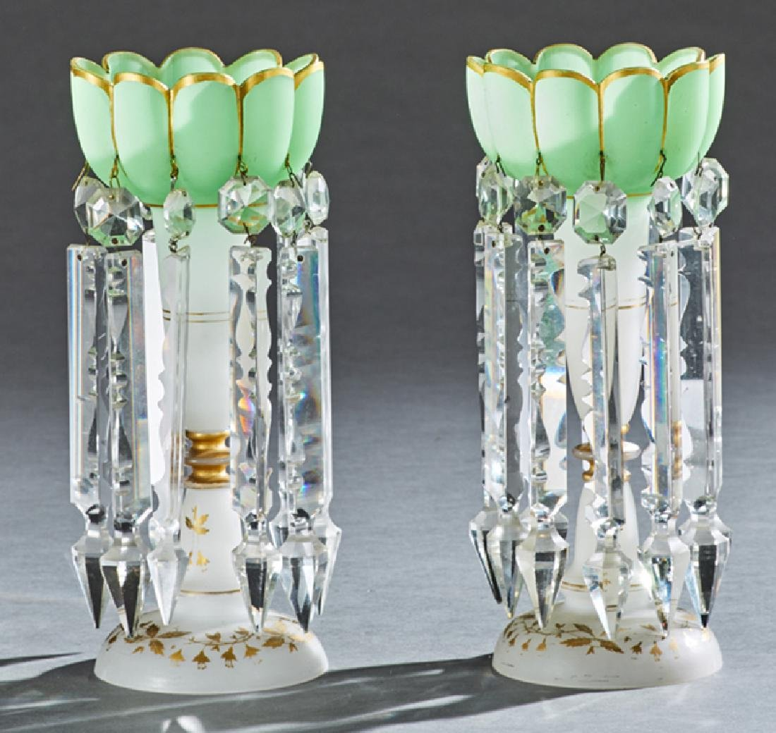 Pair of American Frosted Glass Lusters, 19th c., the