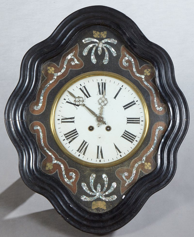 French Ebonized Pine Wall Clock, c. 1880, with