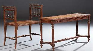 Two French Carved Mahogany Cane Seat Benches, early