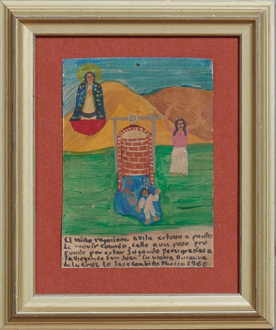 Mexican Retablo, 1960, oil on tin, giving thanks for