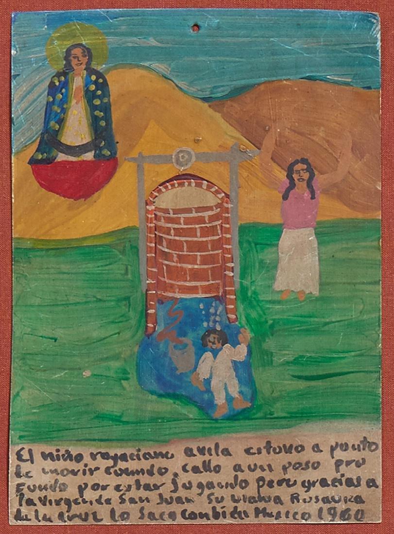 Mexican Retablo, 1960, oil on tin, giving thanks for - 2