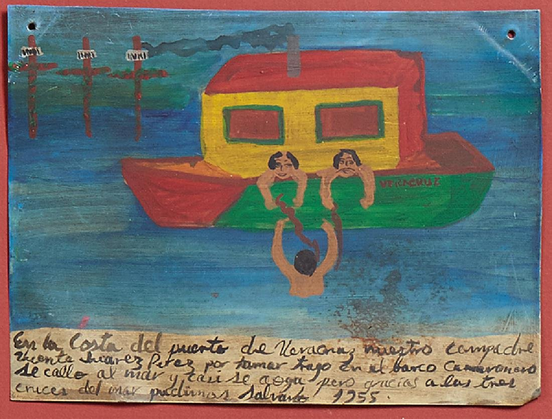 Mexican Retablo, oil on tin, 1955, giving thanks for - 2
