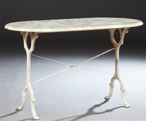 French Marble Top Polychromed Iron Bistro Table Late