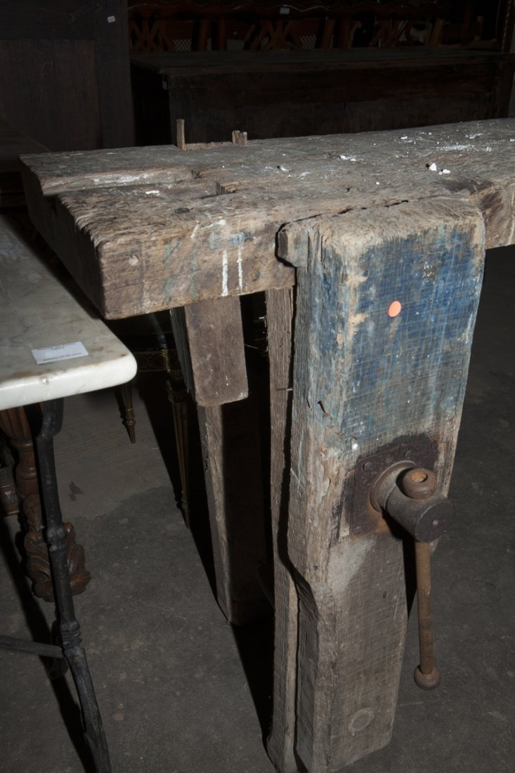 French Carved Elm Cabinet Maker's Workbench, 19th c., - 7
