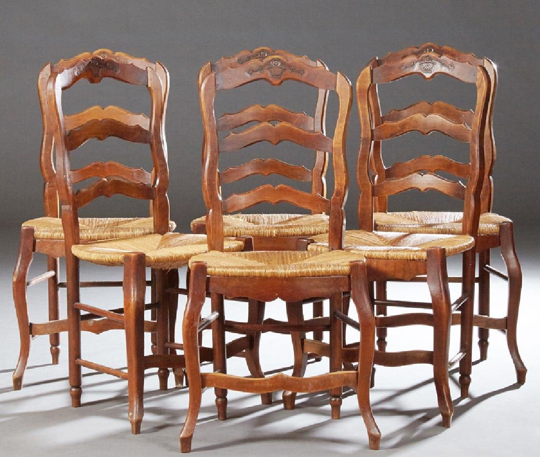 Set of Six French Provincial Carved Cherry Rushseat