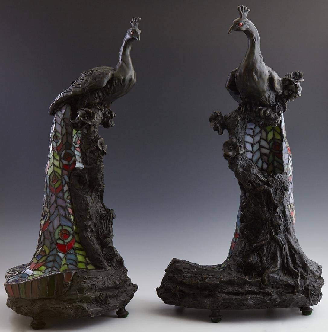 Pair of Patinated Composition Leaded Glass Peacock