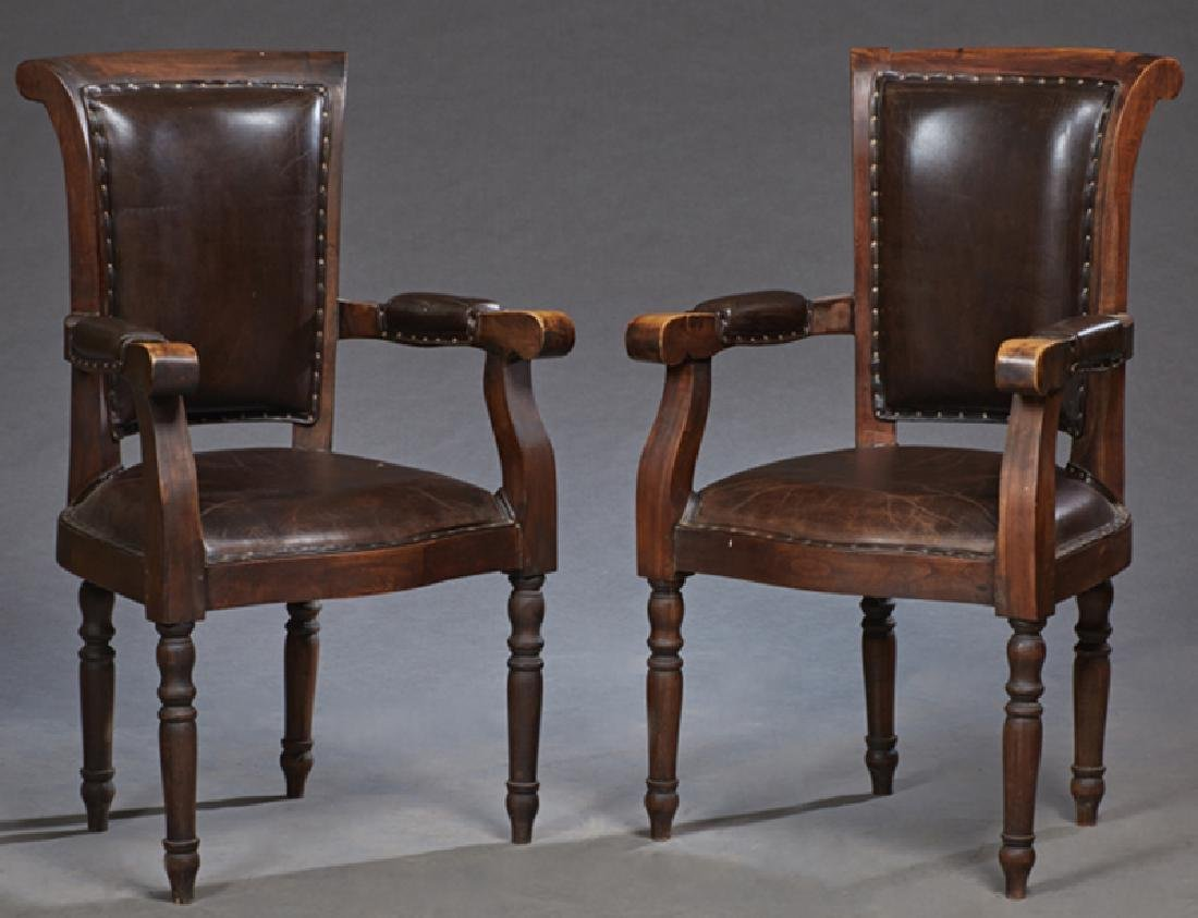 Pair of French Carved Walnut and Leather Fauteuils, c.