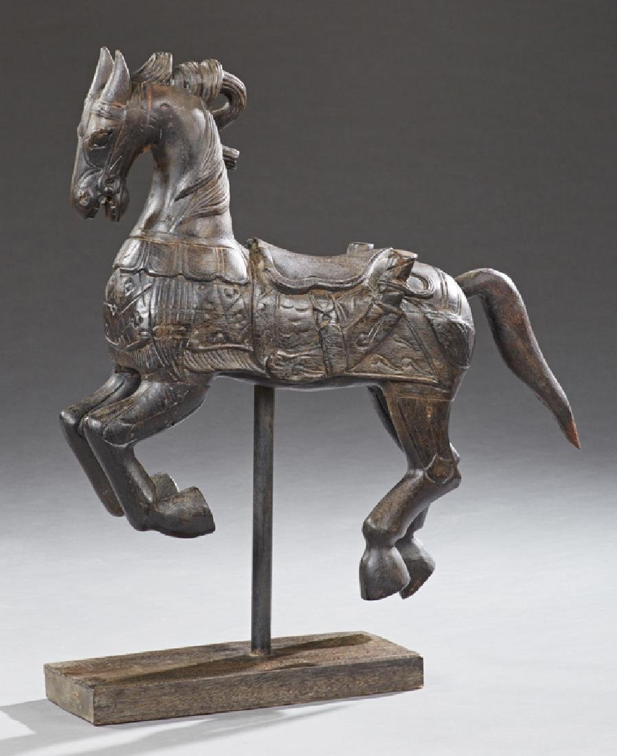 Chinese Diminutive Carved Wooden Carousel Horse, 20th