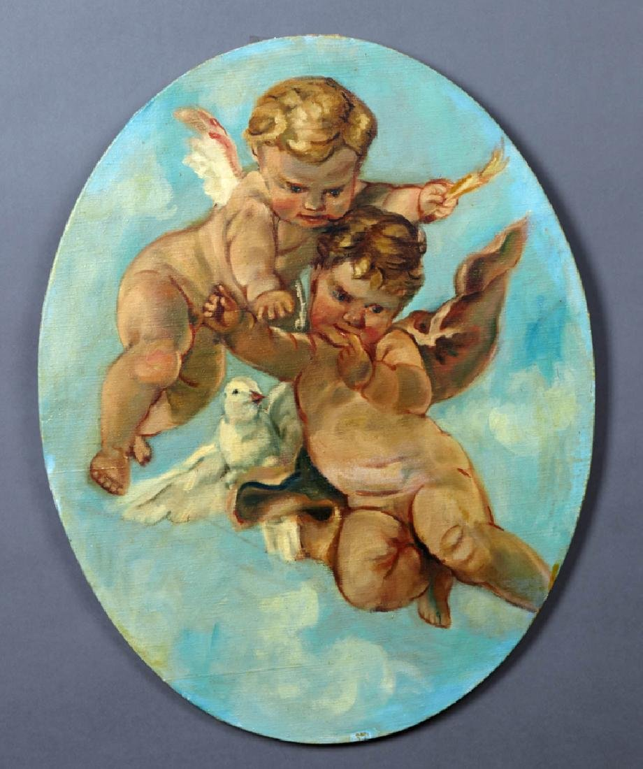 """American School, """"Putti and Dove in the Clouds,"""" 20th"""