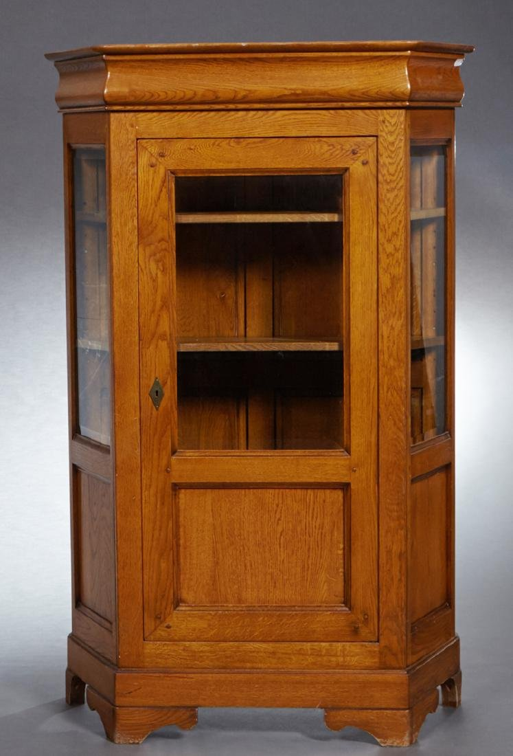 French Louis Philippe Style Carved Oak Vitrine, early