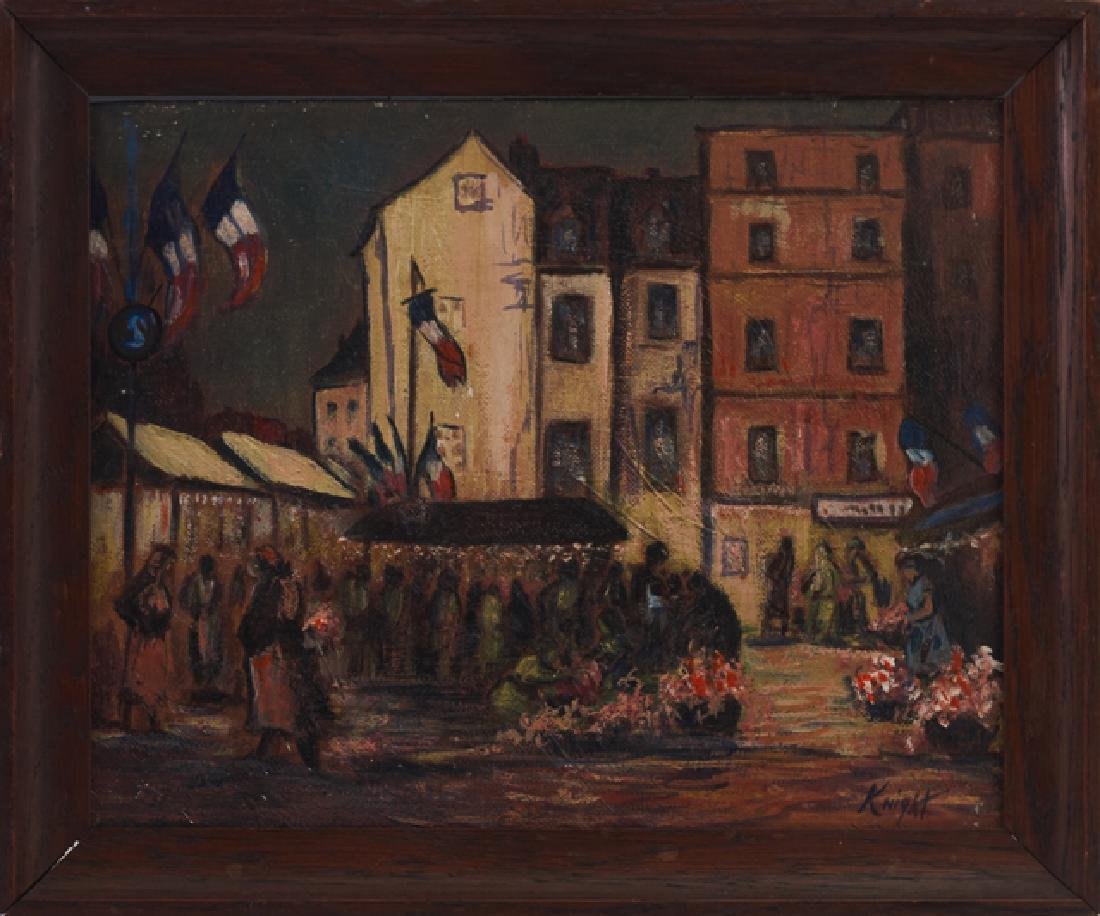 """Knight, """"Market Day, Dieppe France,"""" 20th c., oil on"""
