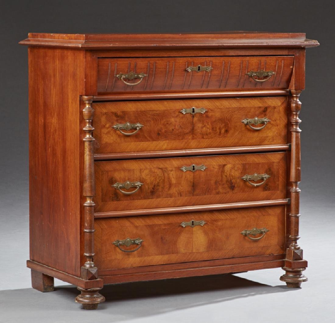 American Banded Mahogany and Burl Walnut Commode, early