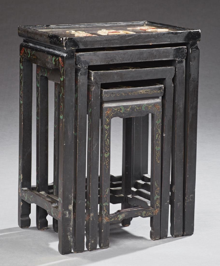 Set of Four Chinoiserie Style Black Lacquer Nesting