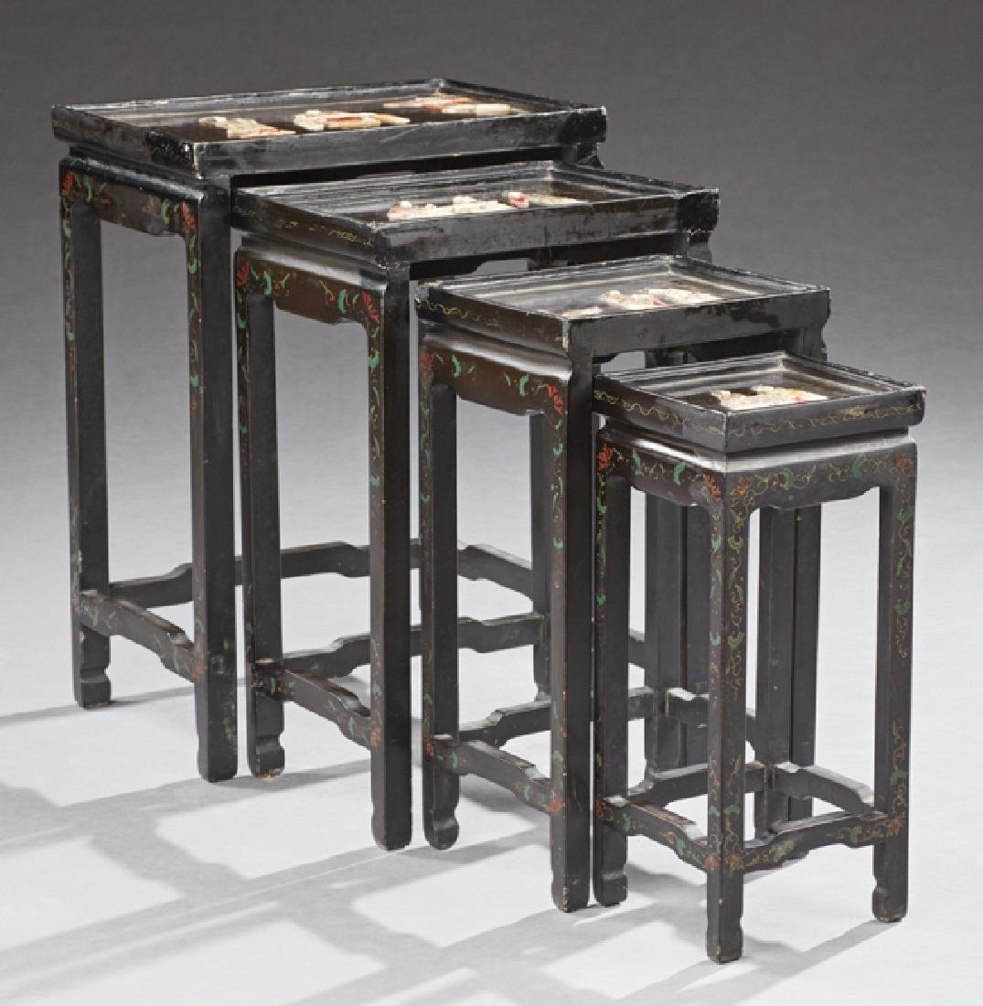 Set of Four Chinoiserie Style Black Lacquer Nesting - 2