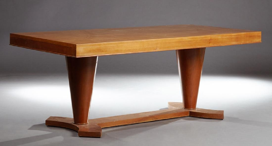 French Art Deco Carved Mahogany Dining Table, c. 1930,