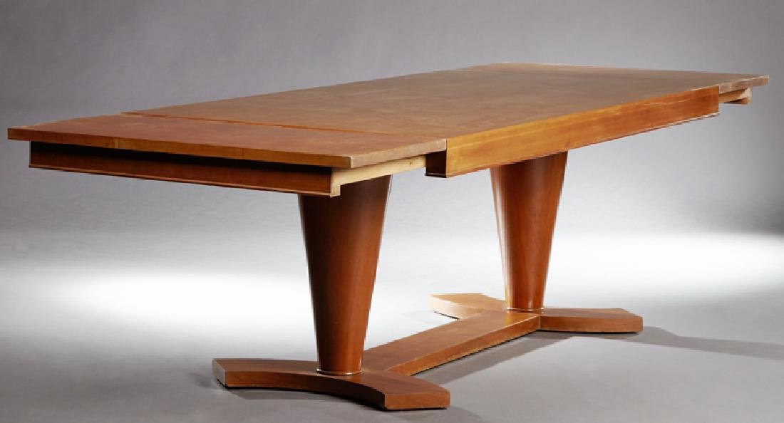French Art Deco Carved Mahogany Dining Table, c. 1930, - 2