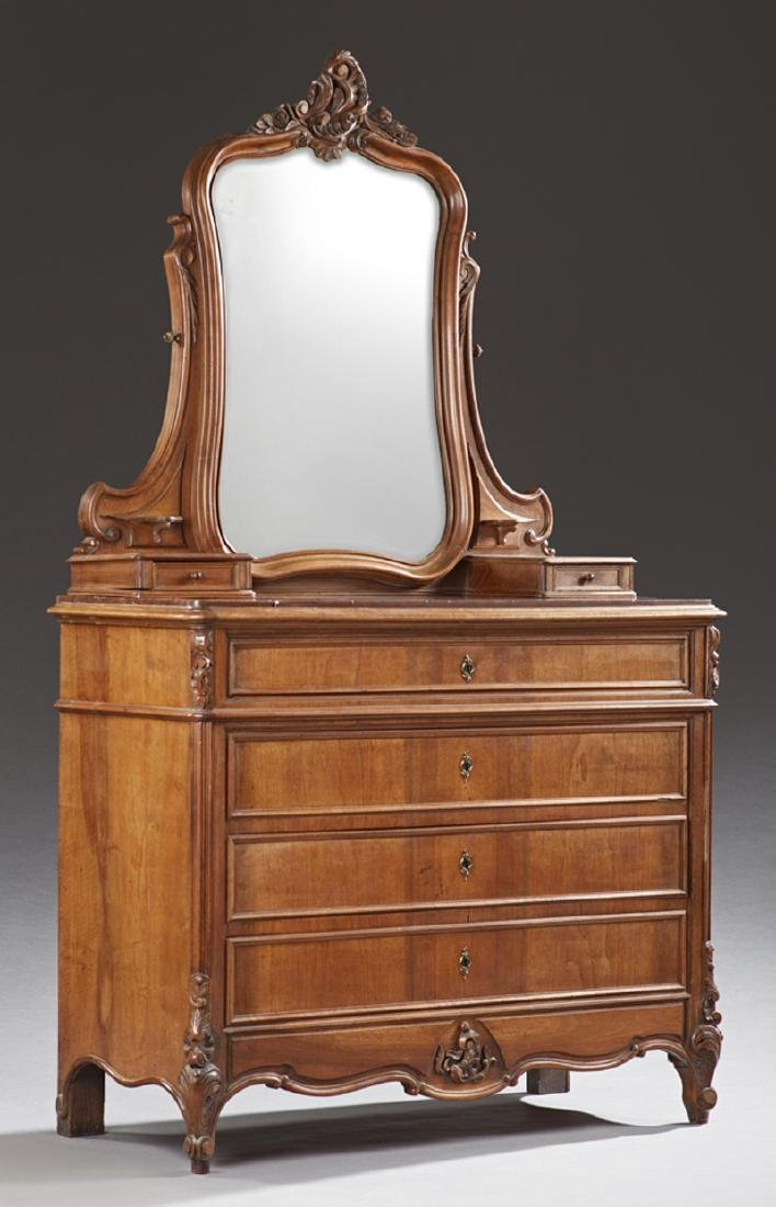French Louis XV Style Carved Walnut Marble Top Dresser,