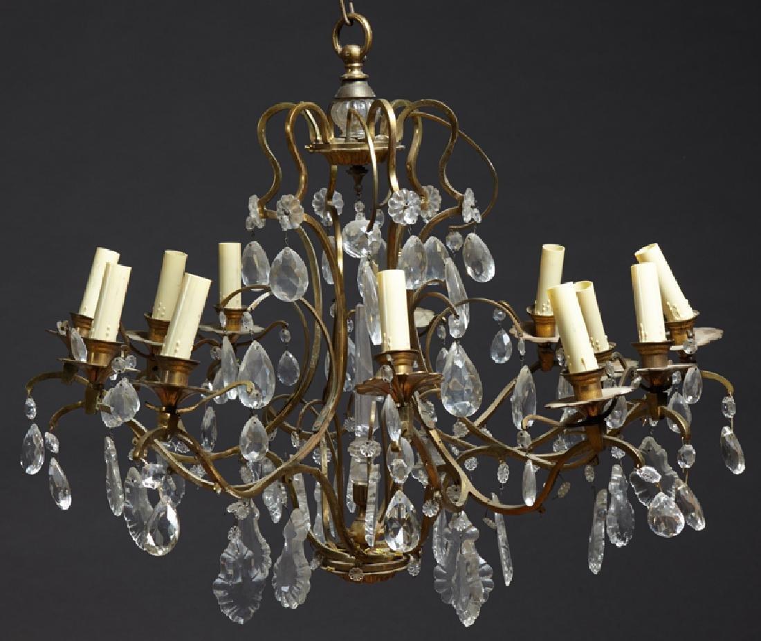 French Brass Art Deco Twelve Light Corbeille