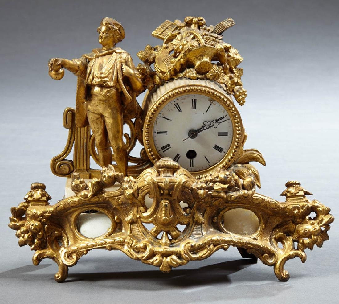 French Gilt Patinated Spelter Figural Mantle Clock,