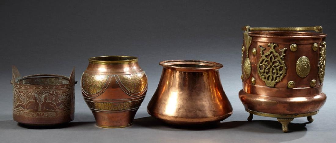Group of Four Large French Copper Pots, 20th c., two