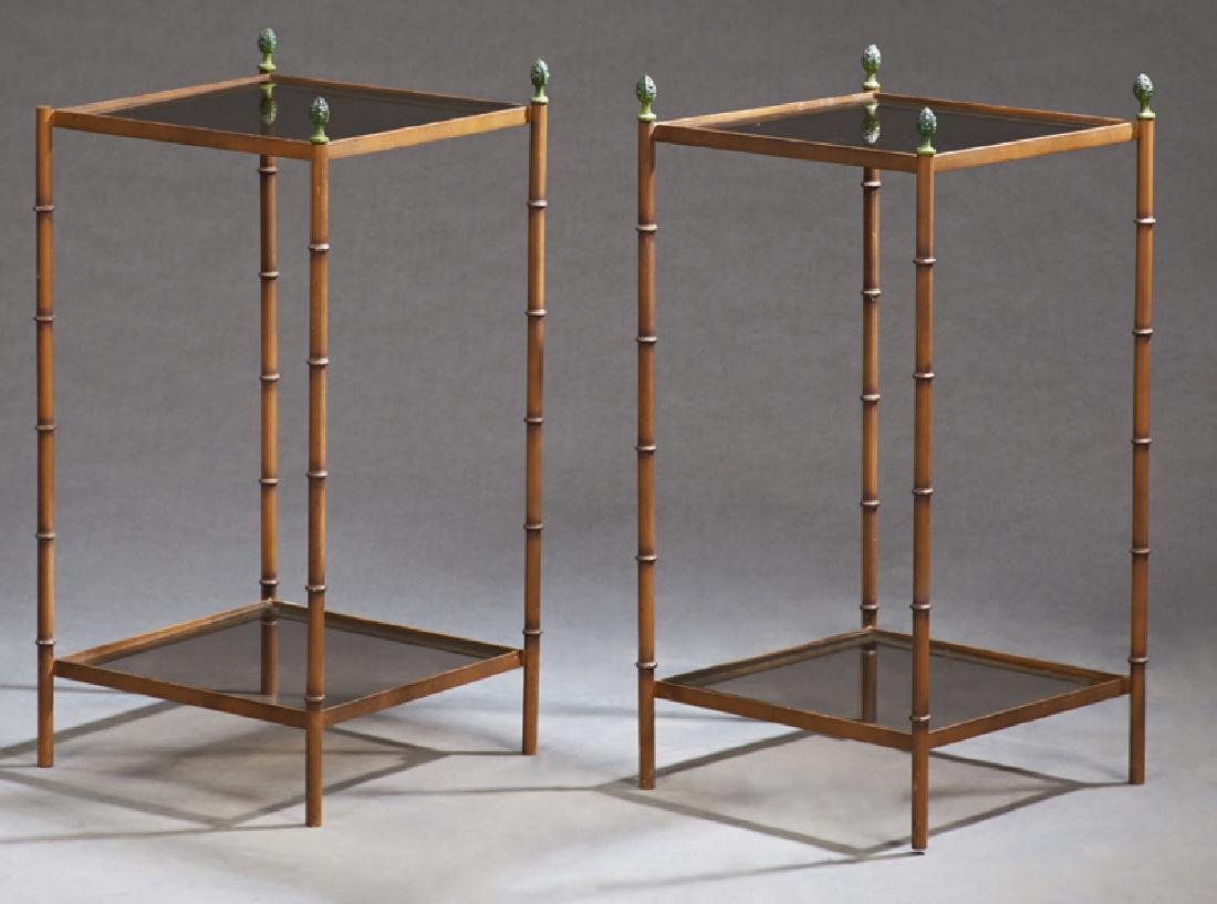 Pair of French Glass and Iron Lamp Tables, 20th c., the