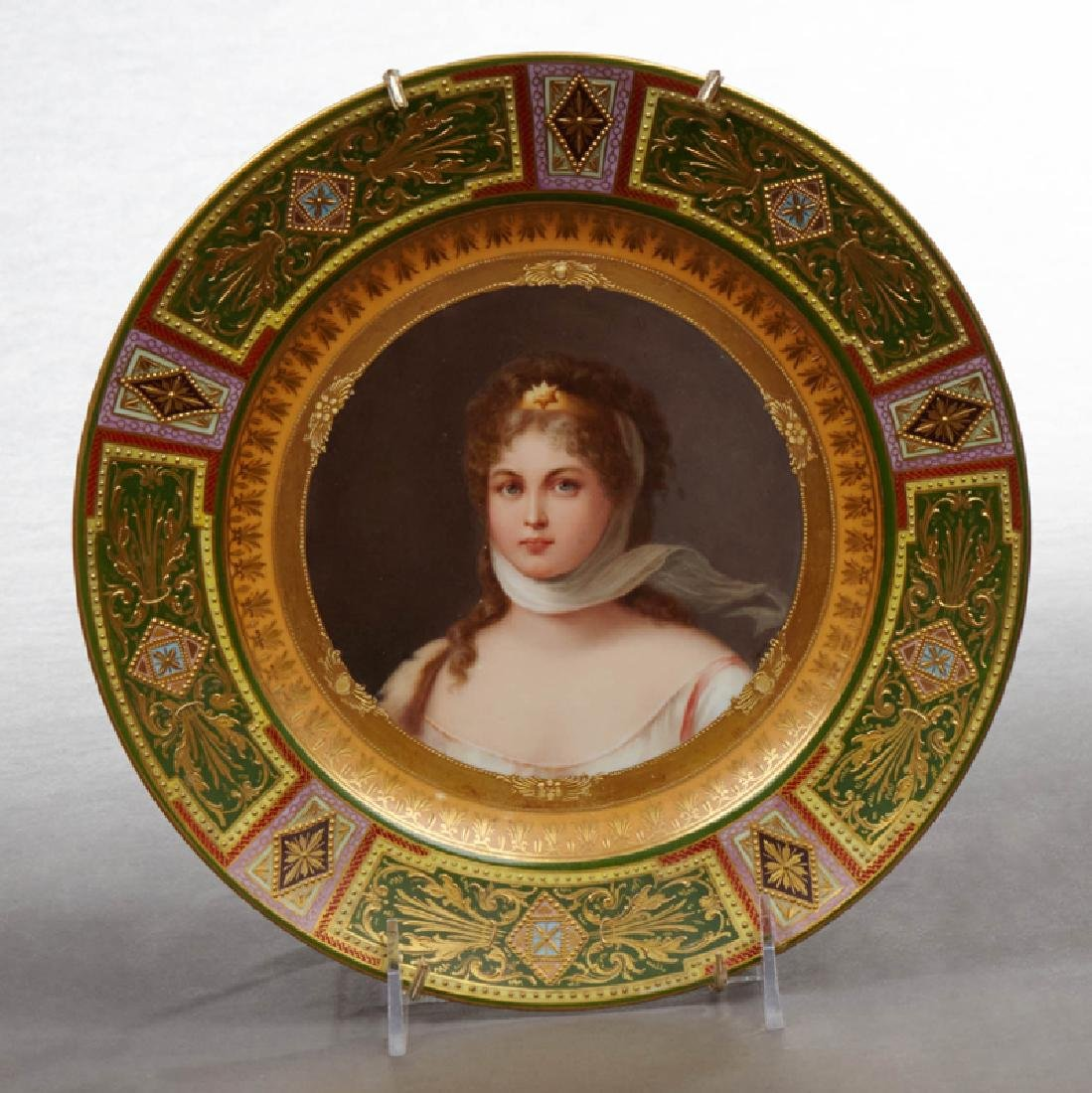 Royal Vienna Porcelain Portrait Plate, 19th c., of