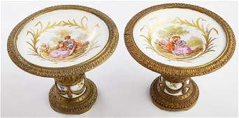Pair of French Bronze and Porcelain Compotes, early