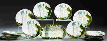 Thirteen Piece French Ceramic Asparagus Set, 20th c.,