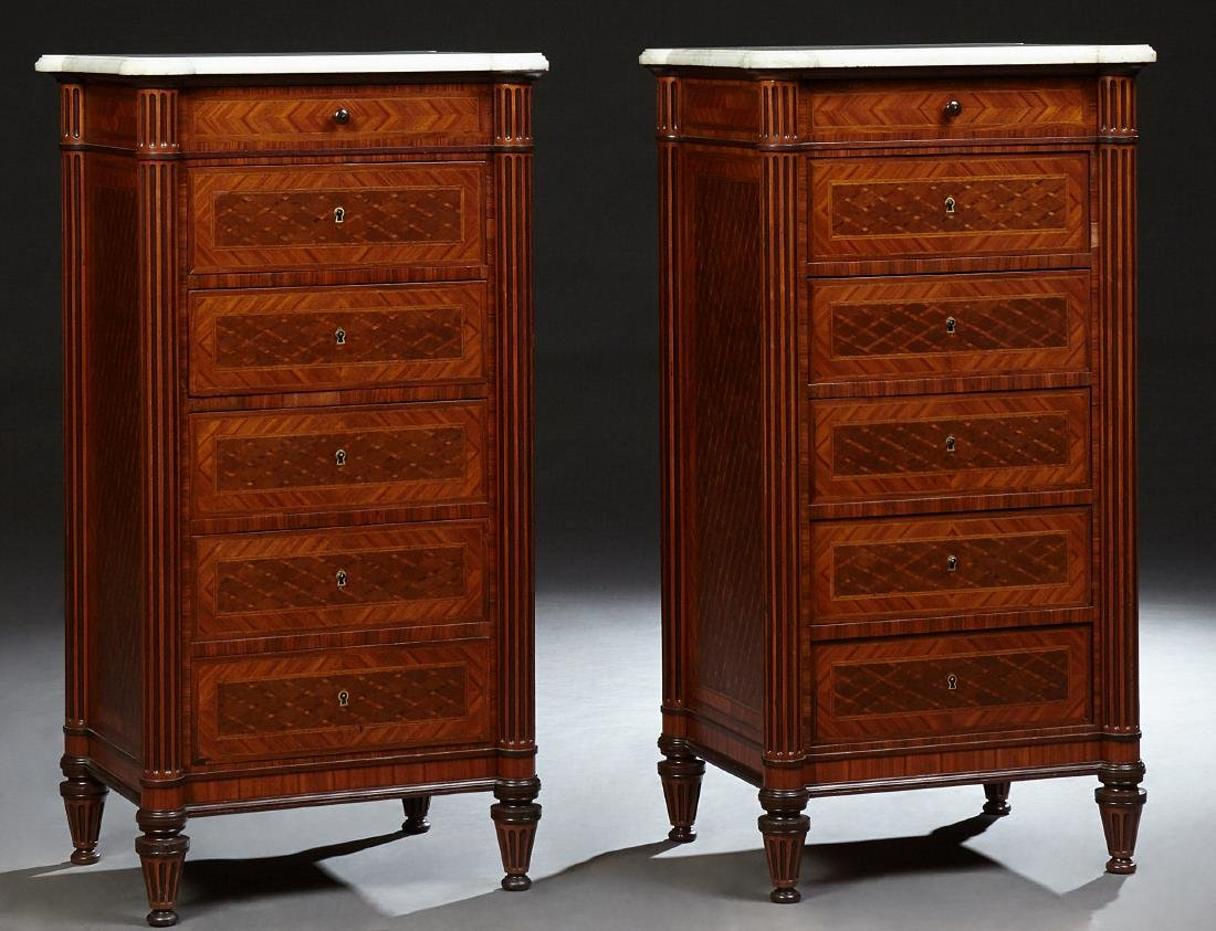 Pair of French Parquetry Inlaid Walnut Nightstands,