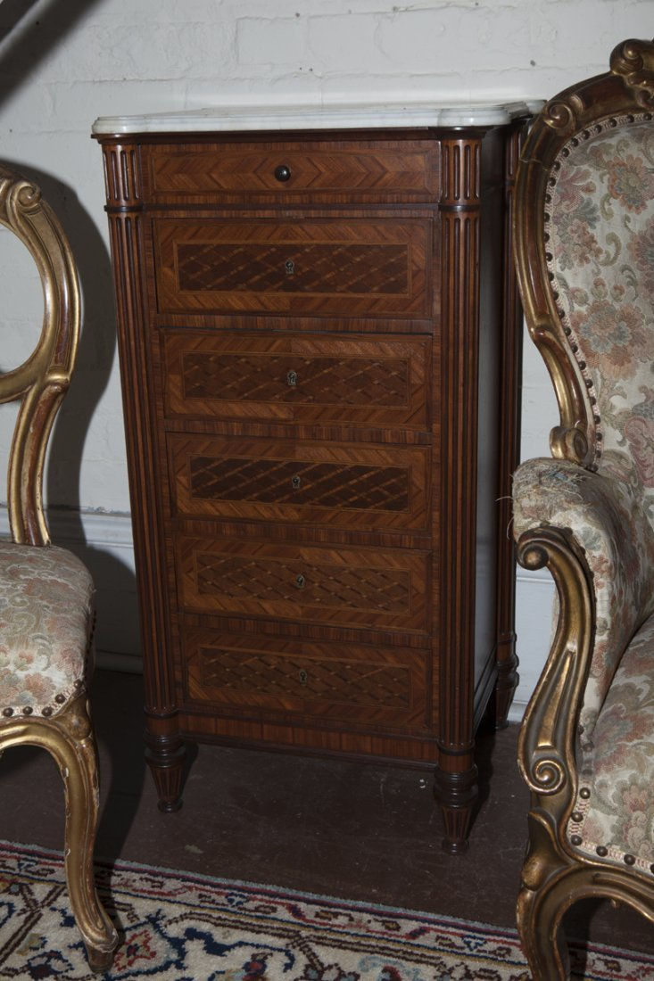 Pair of French Parquetry Inlaid Walnut Nightstands, - 2