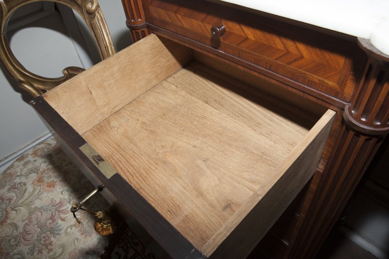 Pair of French Parquetry Inlaid Walnut Nightstands, - 5