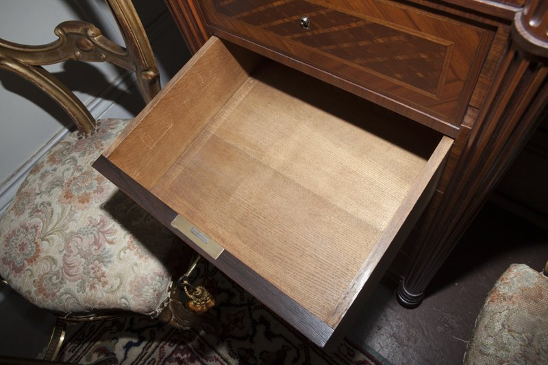 Pair of French Parquetry Inlaid Walnut Nightstands, - 6