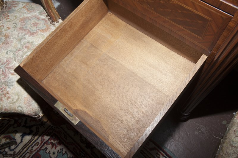 Pair of French Parquetry Inlaid Walnut Nightstands, - 7