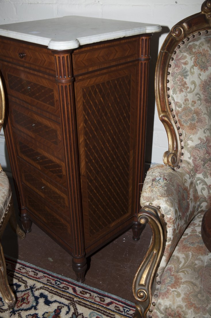Pair of French Parquetry Inlaid Walnut Nightstands, - 9