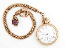 Waltham Gold Plated Open Face Pocket Watch, c. 1913,