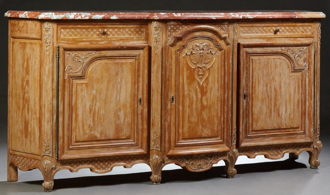 French Louis XV Style Carved Oak Marble Top Sideboard,
