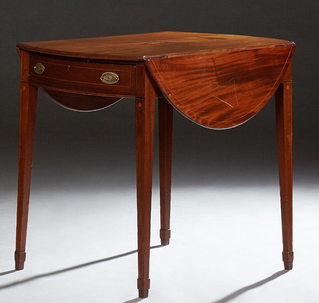 American Inlaid Mahogany Demi-Lune Pembroke Table, 20th