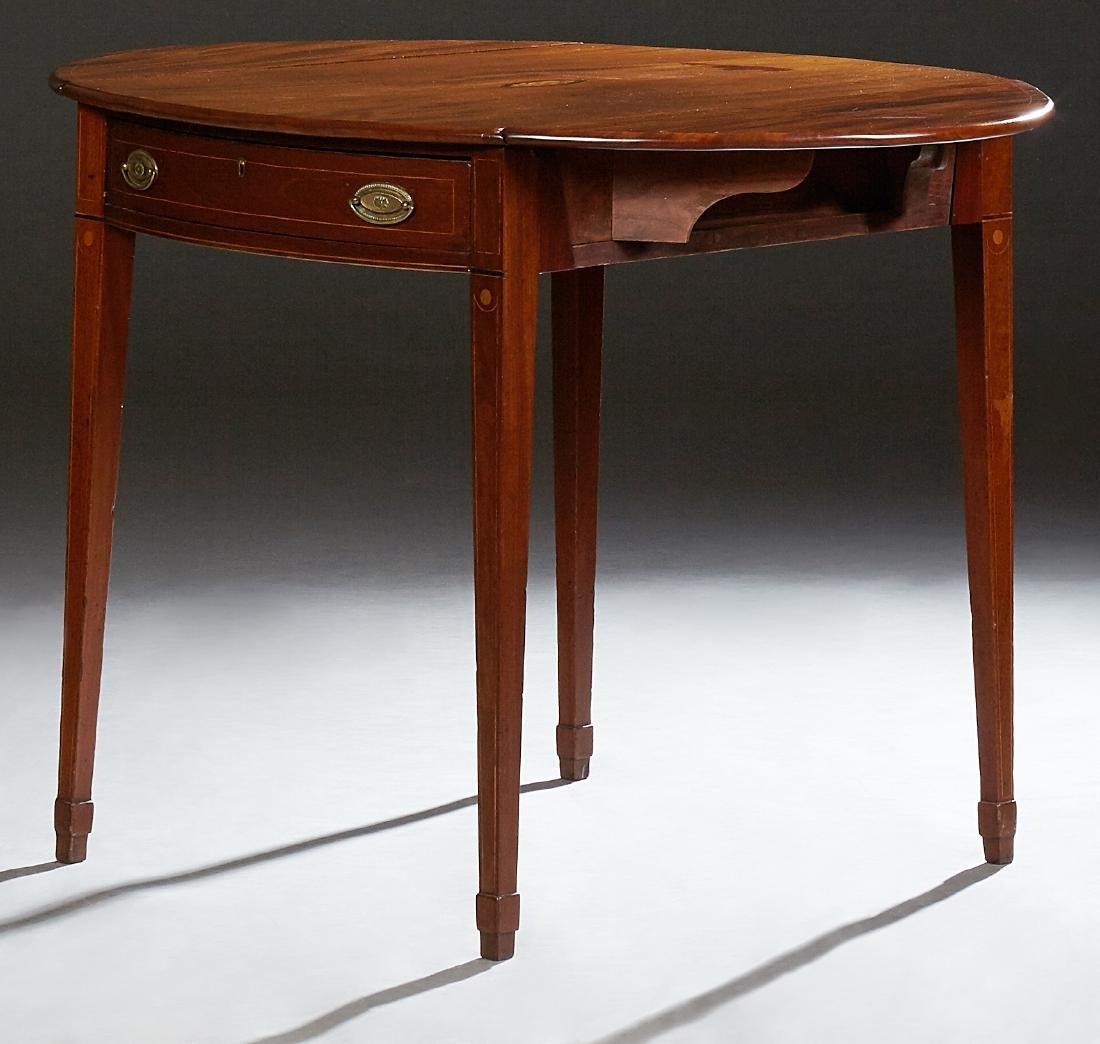 American Inlaid Mahogany Demi-Lune Pembroke Table, 20th - 2