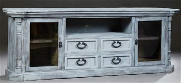 Polychromed Pine Provincial Style Console Cabinet 21st