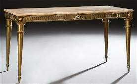 French Empire Style Marble Top Brass Coffee Table 20th